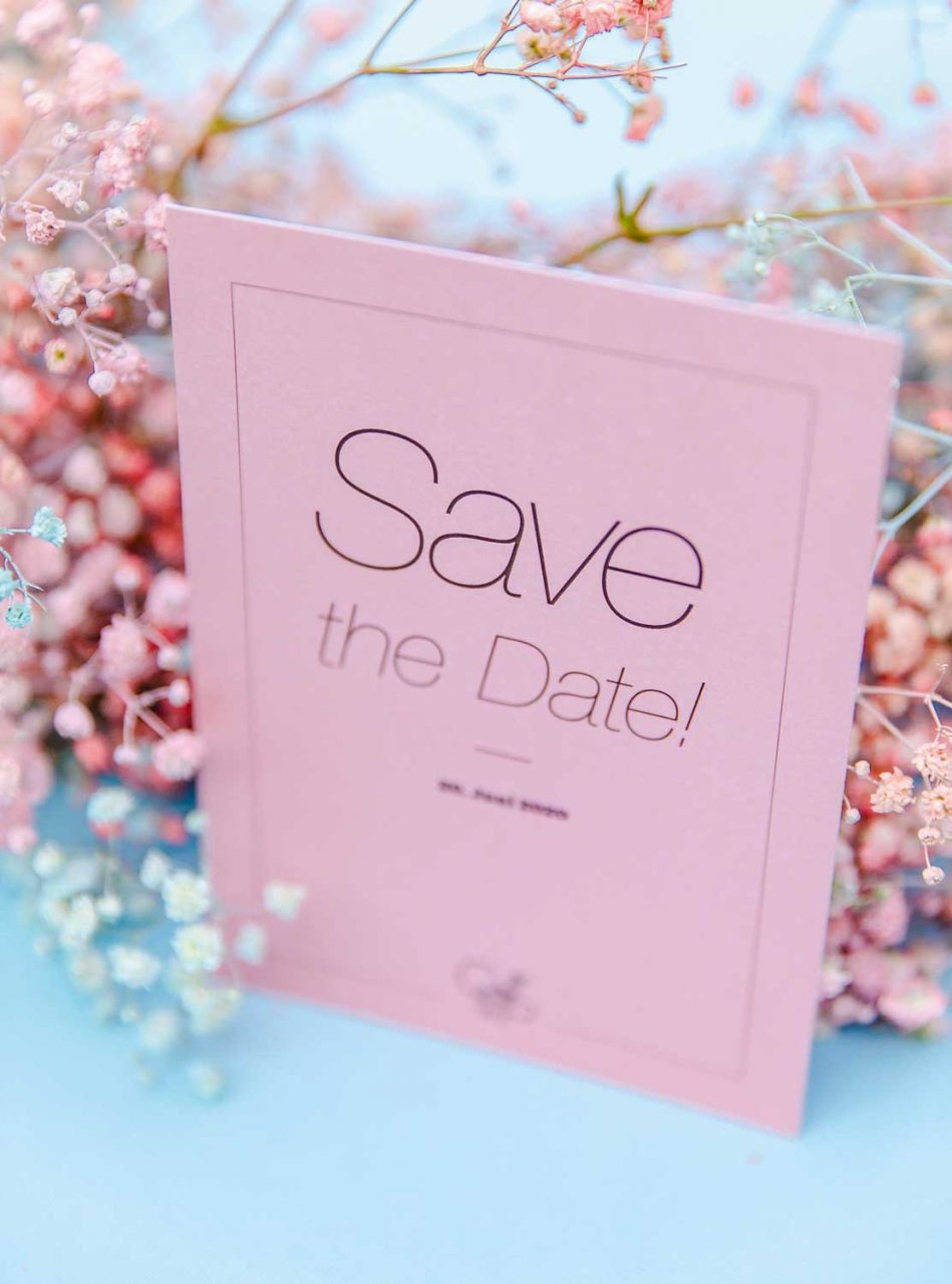 Save the Date - Karte, Rosa, modernes Layout