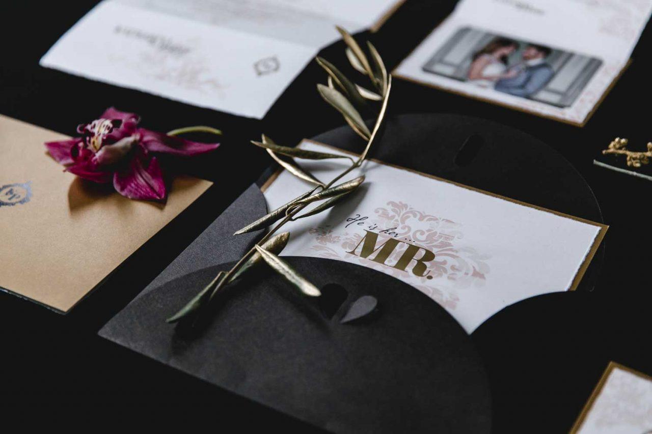 Hochzeitseinladungen-Set: Büttenpapier, edel, gold, Altrosa