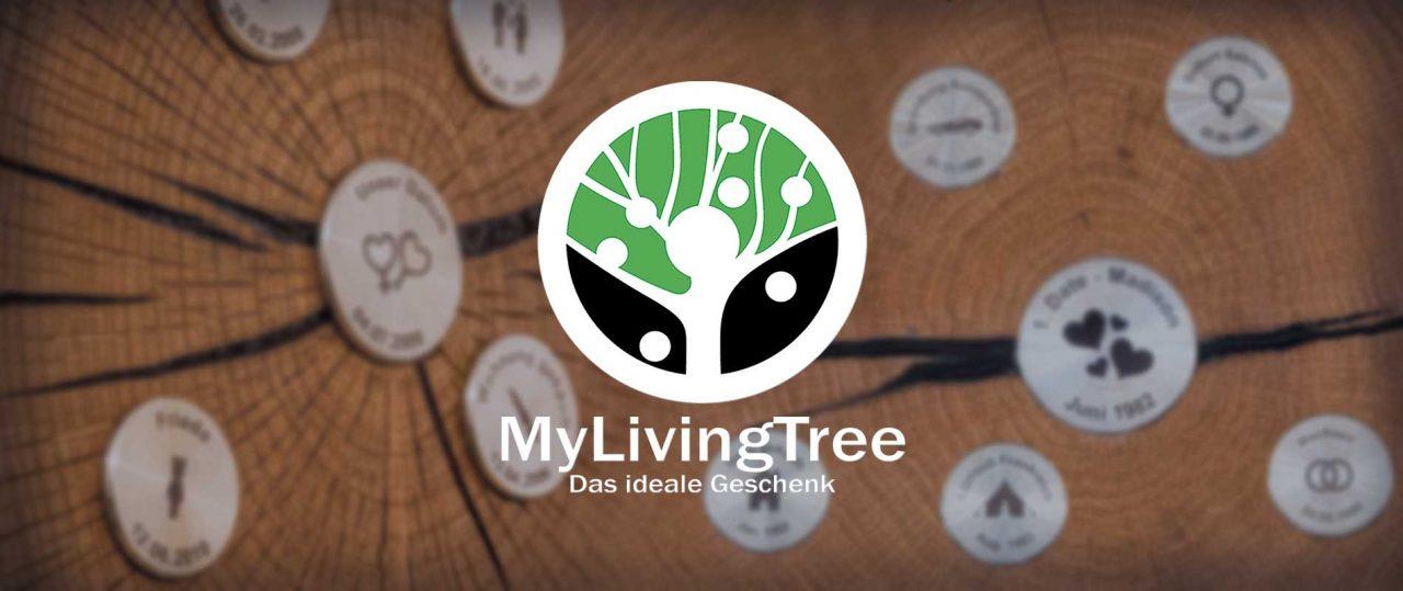 MyLivingTree - mit Plaketten und Logo