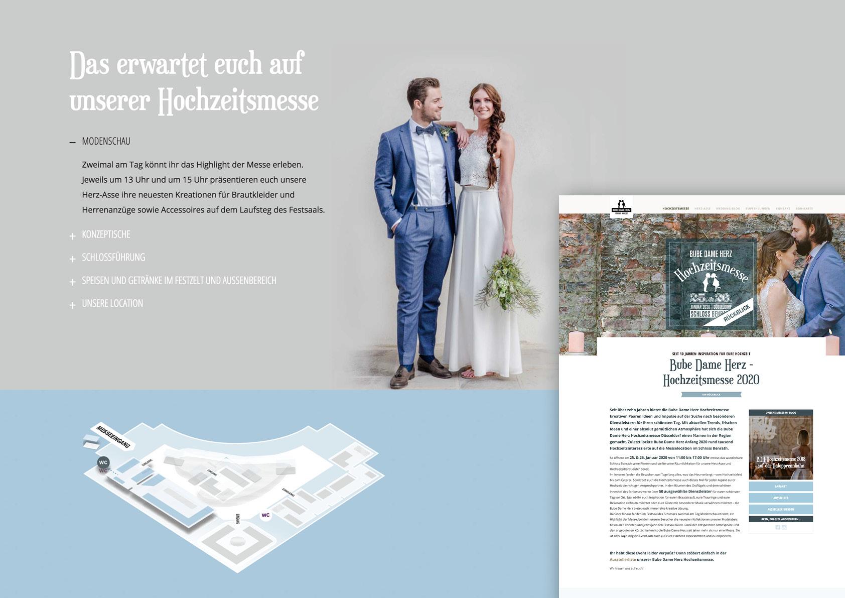 Grafische Elemente der Webseite zu unserer Hochzeitsmesse