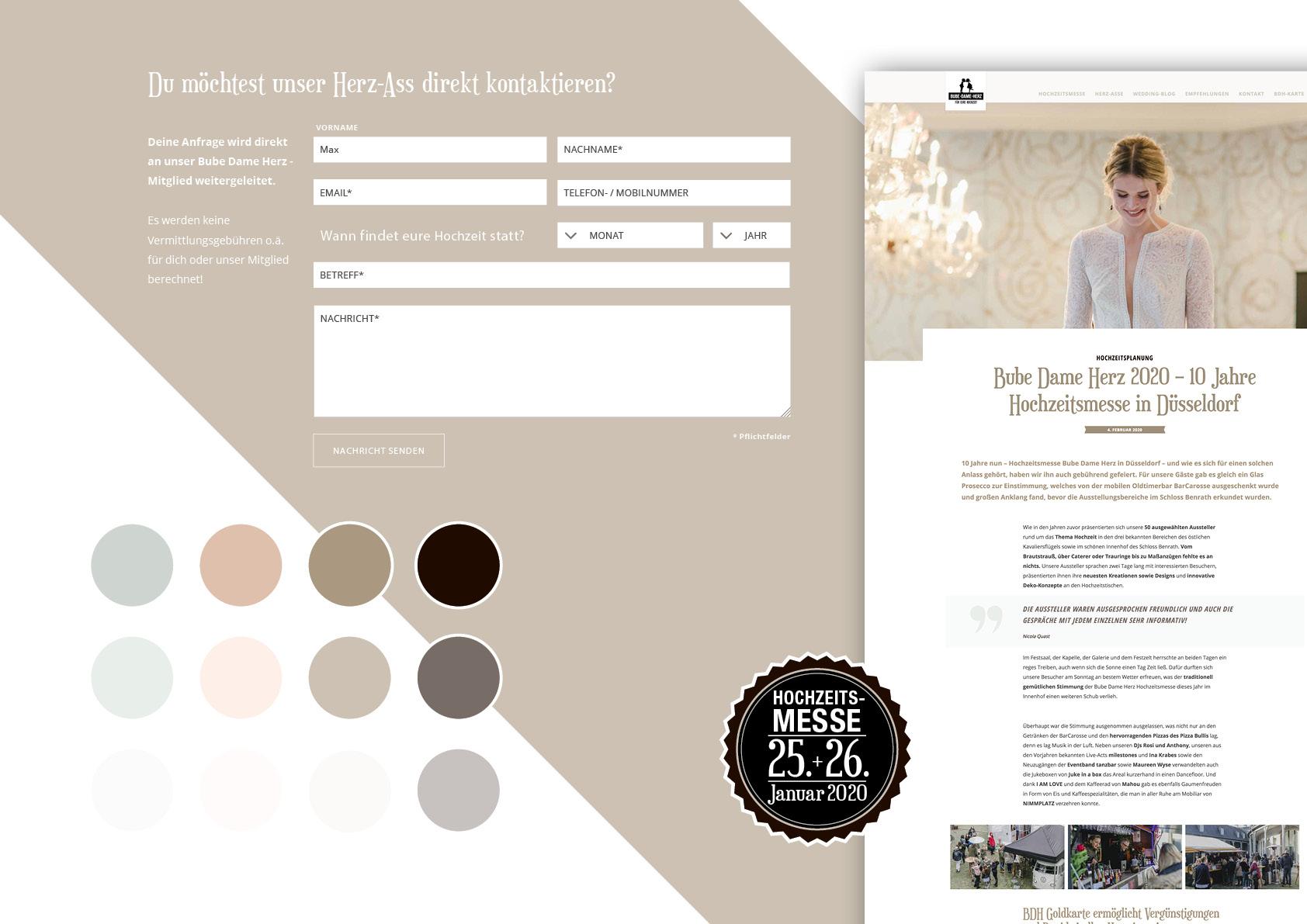 Übersicht der grafischen Elemente der neuen BDH-Website