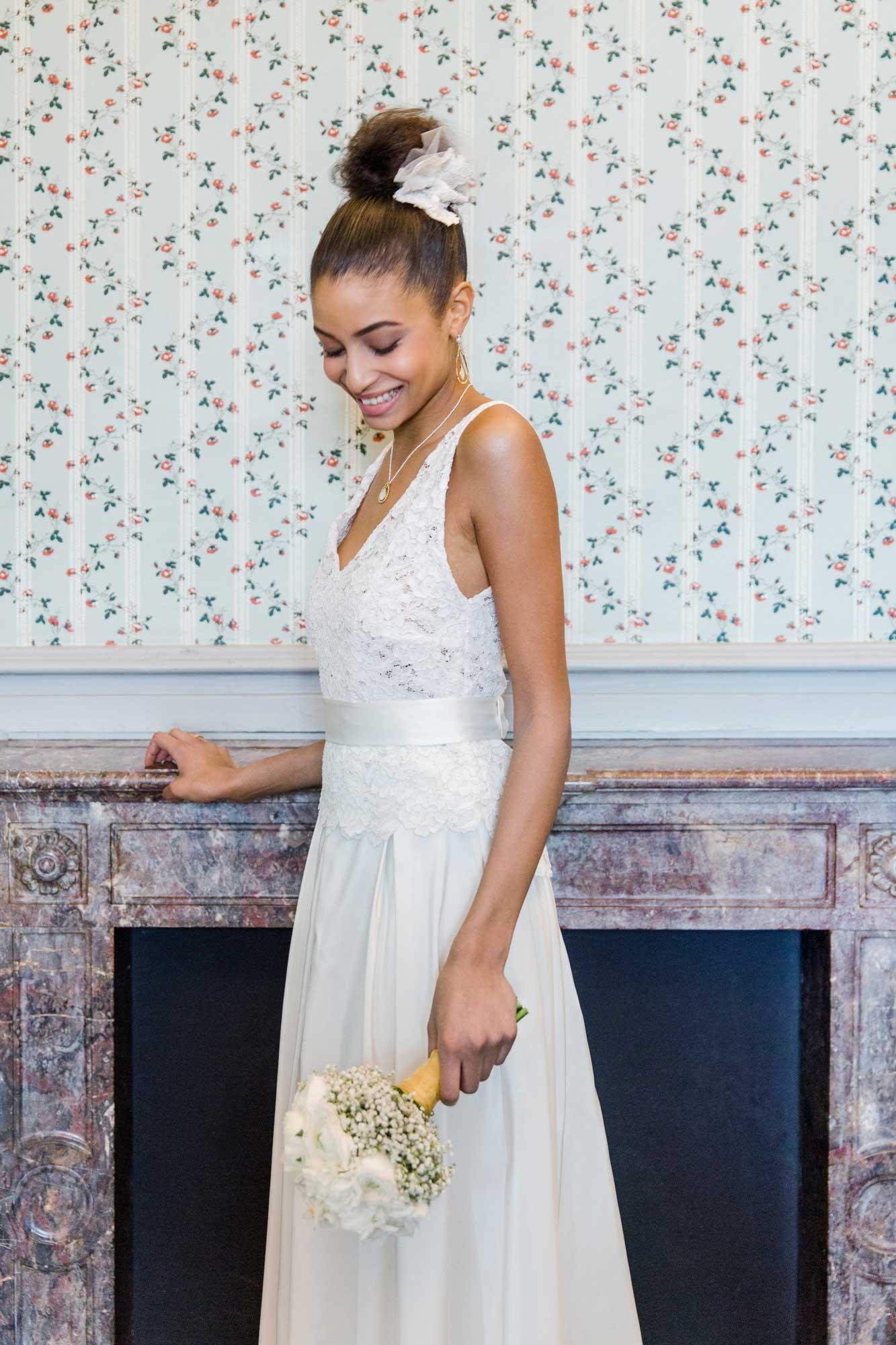 Braut im Hochzeitskleid
